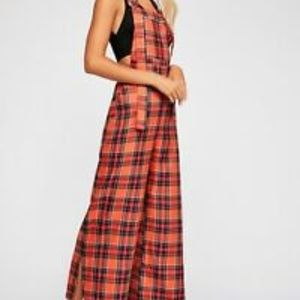 NEW! Free People The Ragged Priest Plaid Overalls